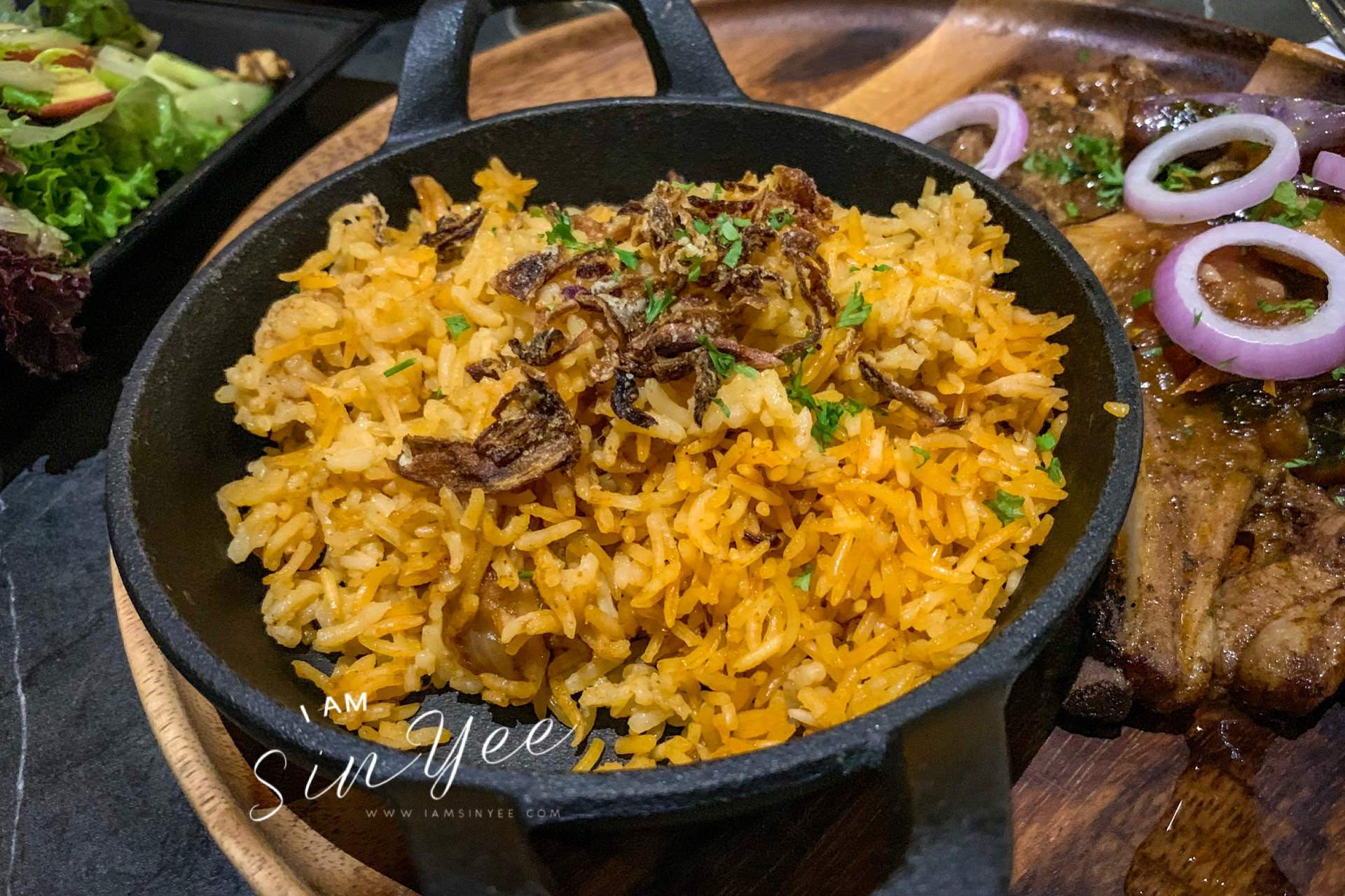 Pilaf served together with Bambino Lamb